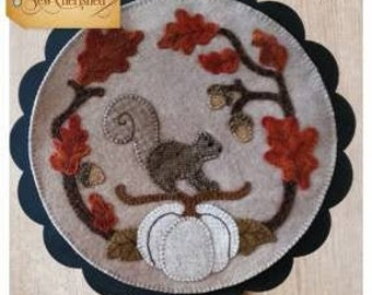Wool Applique Pattern, A Round the Year, September, Wool Wallhanging, Squirrel, Acorns, Pumpkin, Wool Mat, Sew Cherished, PATTERN ONLY