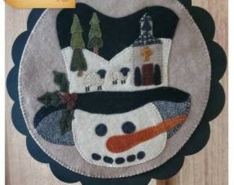 Wool Applique Pattern, A Round the Year, January, Wool Wallhanging, Snowman, Winter Decor, Wool Mat, Sew Cherished, PATTERN ONLY