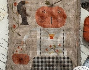 Cross Stitch Pattern, Boo To You, Halloween Decor, Jack-O-Lantern, Pumpkin, Black Crow, Primitive Decor, Brenda Gervais, PATTERN ONLY