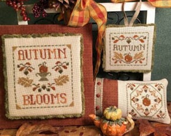 Counted Cross Stitch Pattern, Autumn Blooms, Harvest, Pillow, Ornaments, Pumpkins, Acorns, Fall Decor, Scissor Tail Designs, PATTERN ONLY