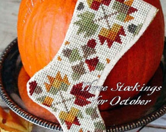 Counted Cross Stitch Pattern, October Harvest, Fall Stockings, Stocking Ornaments, Autumn Leaves, Blackbird Designs, PATTERN ONLY