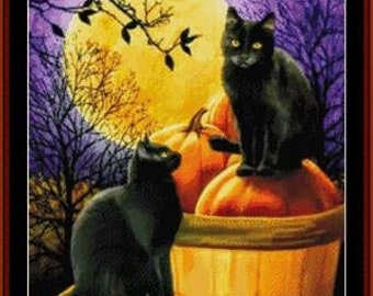 Counted Cross Stitch Pattern, Halloween Night, Black Cats, Pumpkins, Bats, Full Moon, Fantasy, Whimsical, Cross Stitch Collectibles