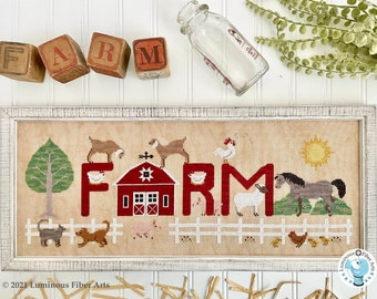 Counted Cross Stitch Pattern, Farm, Chickens, Sheep, Horses, Cats, Dogs, Country Life, Luminous Fiber Arts, PATTERN ONLY