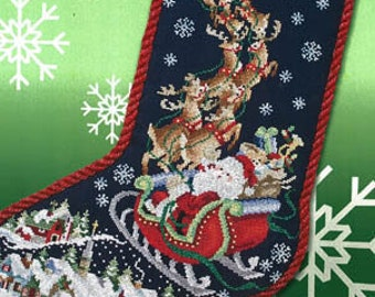 Counted Cross Stitch Pattern, Dash Away All, Christmas Stocking, Santa, Sled, Reindeer, Christmas Decor, Stoney Creek, PATTERN ONLY