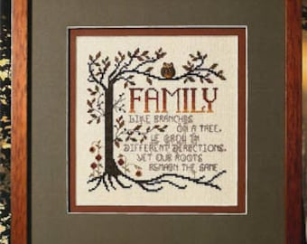 Counted Cross Stitch Pattern, Family Roots, Family Sampler, Sunflowers, Tree Roots, Tree Branches, Owl,  Stoney Creek, PATTERN ONLY