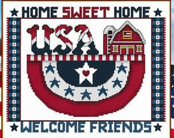 Counted Cross Stitch Pattern, Home Sweet Home, Patriotic Decor, Americana, American Flag, USA, Red Barn Stoney Creek, PATTERN ONLY