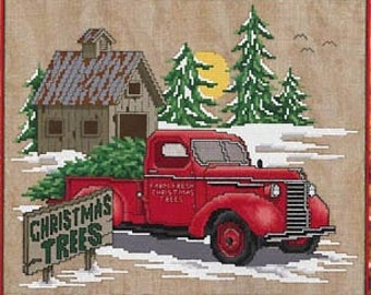 Counted Cross Stitch Pattern, Farm Fresh Trees, Christmas Trees, Red Pick Up, Christmas Farm, Christmas Decor, Stoney Creek, PATTERN ONLY