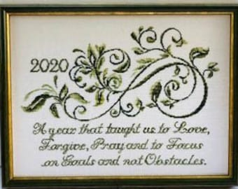 Counted Cross Stitch Pattern, Focus Year,  2020 Sampler, Ivy Vine Motif, Love, Forgive, Pray, Verse, Country Rustic, Keslyn's, PATTERN ONLY