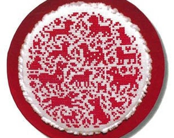 Counted Cross Stitch Pattern, Doggies in the Round, Sweet Nothings, Dog Ornament, Puppies, Christmas Ornament, JBW Designs, PATTERN ONLY