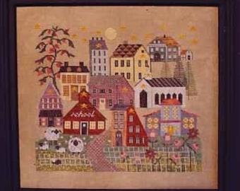 Counted Cross Stitch Pattern, Star Village, Primitive Decor, Sheep, School, Church, Saltbox, Village Scene, Thistles, PATTERN ONLY