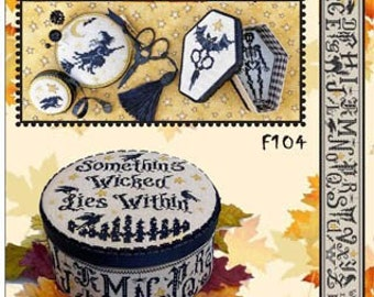 Counted Cross Stitch Pattern, Something Wicked, Box & Smalls, Halloween Decor, Skeletons, Crows, Witches, Sue Hillis Designs, PATTERN ONLY