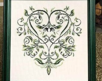 Counted Cross Stitch Pattern, English Ivy, Heart, Garden Decor, Cottage, Country Rustic, Ivy Vine, English, Elegance, Keslyn's, PATTERN ONLY