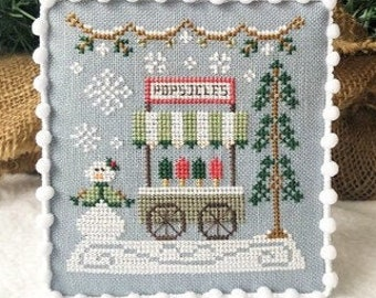 Counted Cross Stitch, Snow Village, Popsicle Cart, Cottage Decor, Winter Decor, Country Cottage Needleworks, PATTERN ONLY