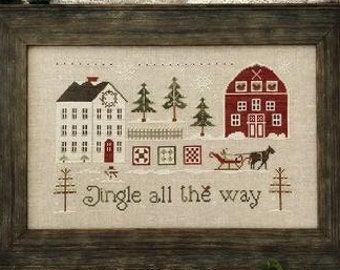 Counted Cross Stitch Pattern, Jingle All the Way, Christmas Decor, Christmas Trees, Sleigh, Little House Needleworks, PATTERN ONLY