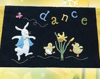 Wool Applique Pattern, Dance with the Daffodils, Wool Applique Table Runner, Spring Decor, Rabbit, Chicks, Nutmeg Hare, PATTERN ONLY