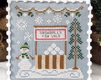 Counted Cross Stitch, Snowball Stand, Snowballs, Snowman, Cottage Decor, Winter Decor, Country Cottage Needleworks, PATTERN ONLY
