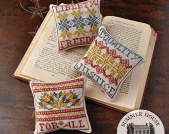 Counted Cross Stitch, Liberty & Justice For All, Equality, Freedom, Patriotic, Americana, Summer House Stitche Workes, PATTERN ONLY