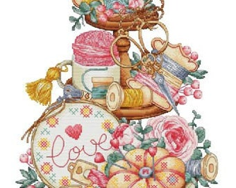 Counted Cross Stitch Pattern, Needlework Tiered, Sewing Notions, Love Embroidery, Tiered Tray, Les Petites Croix de Lucie, PATTERN ONLY