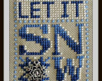 Counted Cross Stitch Pattern, Let It Snow, Snowflake Charm, Charm Embellishment, Winter Decor, Winter Snowflake, Hinzeit, PATTERN ONLY