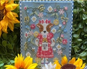 Counted Cross Stitch Pattern, Ronnie & The Bees, Puppy Dog, Bees, Bee Skep, Garden Decor, Stitching with the Housewives, PATTERN ONLY