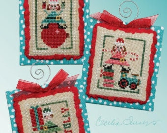 Counted Cross Stitch Pattern, Elfin' Around, Elves, Holiday Elf, Christmas Decor, Christmas Ornament, Ornament, Heart in Hand, PATTERN ONLY