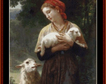 Counted Cross Stitch Pattern, The Shepherdess, Sheep, Lamb, Primitive Decor, Rustic Farmhouse, Cross Stitch Collectibles, PATTERN ONLY