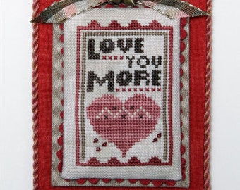 Counted Cross Stitch Pattern, Love You More, Merry Making Mini, Valentine Decor, Valentine Ornament, Ornament, Heart in Hand, PATTERN ONLY