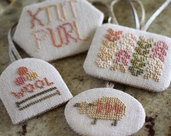 Cross Stitch, Woolly Fobs, Knit Fob, Scissor Fob, Sheep Fob, Knit, Purl, Wool, Robin Sample, October House Fiber Arts, PATTERN ONLY