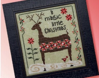 Counted Cross Stitch Pattern, Patchwork Deer, Reindeer, Holiday, Christmas Decor, Christmas Ornament, Ornament, Heart in Hand, PATTERN ONLY