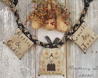 Cross Stitch Pattern, Autumn Blessings, Halloween Sampler, Autumn Leaves, Witch, Pumpkins, Garland Bowl Pillows, Pineberry Lane PATTERN ONLY