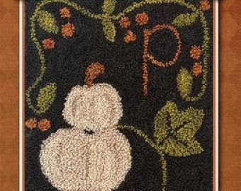 Punch Needle Pattern, P is for Pumpkin, White Pumpkins, Fall Decor, Autumn Decor, Punch Needle, Little House Needleworks, PATTERN ONLY