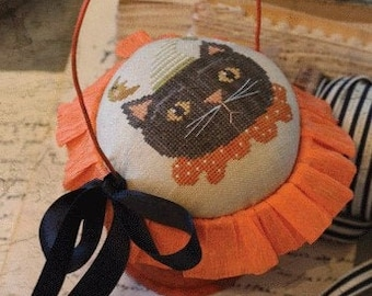 Cross Stitch Pattern, The Cat & the Moon, Halloween Decor, Black Cat, Fall Decor, Pot Basket, Primitive Decor, Brenda Gervais, PATTERN ONLY