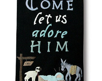 Wool Applique Pattern, Let Us Adore Him, Wool Table Runner, Nativity, Manger Scene, Christmas Decor, Holiday, Nutmeg Hare, PATTERN ONLY