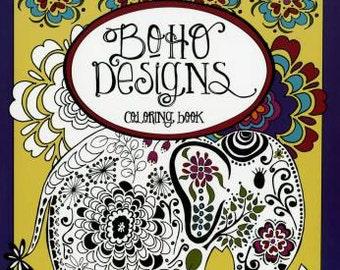 Coloring Book, Boho Designs Coloring Book, Creative Designs, Adult Coloring Book, Softcover, Fun Stitch Studio