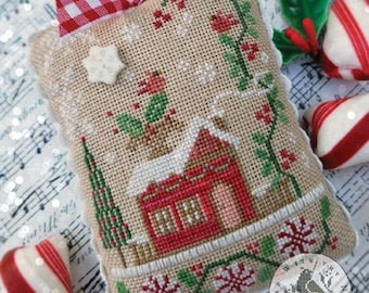 Counted Cross Stitch Pattern, Home for Christmas, Christmas Decor, Peppermint, Holly, Cardinals, Berries, Brenda Gervais, PATTERN ONLY