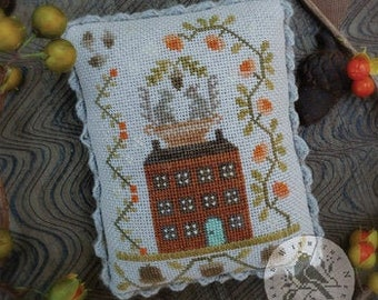 Counted Cross Stitch Pattern, Autumn in Amana, Fall Decor, Squirrels, Acorns, Saltbox House, Vines, Brenda Gervais, PATTERN ONLY