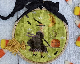 Counted Cross Stitch Pattern, Holiday Hoopla, Halloween, Halloween Decor, Witch, Pumpkin, Primitive Decor, Brenda Gervais, PATTERN ONLY