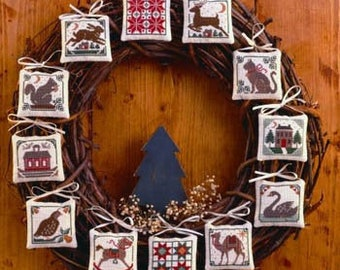 Counted Cross Stitch, Prairie Christmas, Ornaments, Partridge, Reindeer, Rocking Horse, Saltbox House, The Prairie Schooler,  PATTERN ONLY
