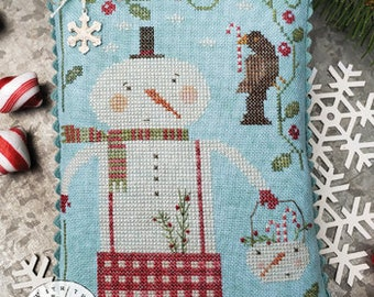 Counted Cross Stitch Pattern, Peppermint Pals, Christmas Decor, Snowman, Crow, Candy Canes, Primitive Decor, Brenda Gervais, PATTERN ONLY