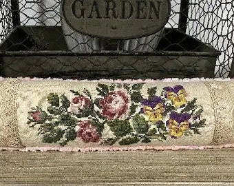 Counted Cross Stitch Pattern, Sarah's Pin Cushion, Roses, Needle Roll, Antique Reproduction, Pansies, Fox and Rabbit, PATTERN ONLY