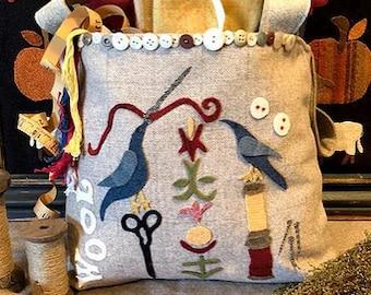 Wool Applique Pattern, O Wooly Wool Bag, Wool Applique Bag, Bluebirds, Blossoms, Sheep, Handbag, Purse, 1894 Cottonwood House, PATTERN ONLY