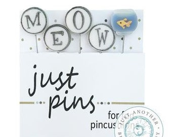 M is for Meow, Pin Mini, Pins, Sewing Pins, Hand Made Pin, Stainless Steel Pin, Farmhouse Decor, Fishbowl, Just Another Button Company