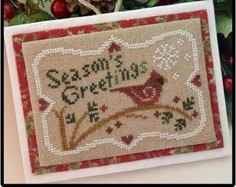 Counted Cross Stitch Pattern, Season's Greetings, Christmas Ornament, Cardinal Ornament, Christmas, Little House Needleworks, PATTERN ONLY