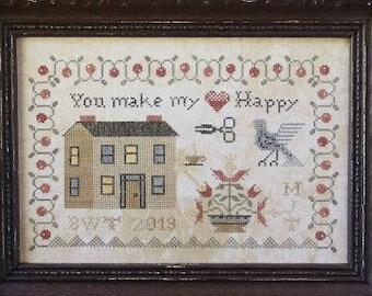 Counted Cross Stitch Pattern, You Make My Heart Happy, Saltbox House, Cross Stitch Sampler, Beth Twist, Heartstring Samplery, PATTERN ONLY