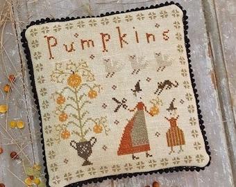 Cross Stitch Pattern, The Perfect Pumpkin, Fancey Blackett Series, Pumpkins, Black Cat, Birds, Cushion Ornament, Pineberry Lane PATTERN ONLY