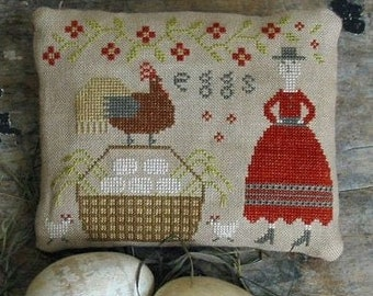 Cross Stitch Pattern, Sister's Farm Fresh Eggs, Farmhouse Decor, Primitive Decor, Country Rustic, Rooster, Pineberry Lane PATTERN ONLY