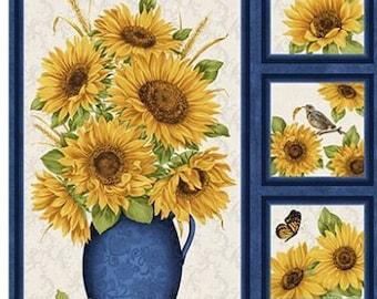 Quilt Fabric, Sunflower Panel, Accent on Sunflowers, Quilters Cotton, Birds, Butterflies, Blooms, Jackie Robinson, Animas Quilts, Benartex