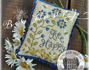 Counted Cross Stitch, Bee Happy, Sweet Bees, Flower Vine, Inspirational, Pillow Tuck, Bowl Filler, Summer House Stitche Workes, PATTERN ONLY