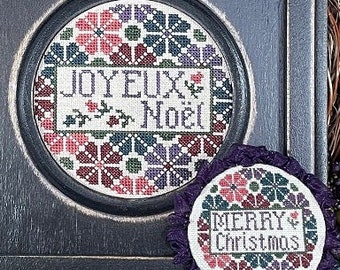 Counted Cross Stitch Pattern, Merry Christmas, Joyeux Noel, Christmas Ornament, Christmas Decor, My Big Toe Designs, PATTERN ONLY