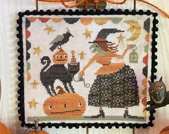 Counted Cross Stitch Pattern, Hazel's Halloween Friends, Halloween Decor, Witch, Black Cat, Crow, Teresa Kogut, PATTERN ONLY